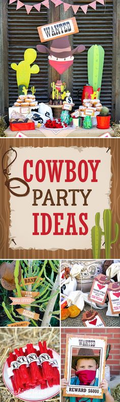 Want all the best cowboy party ideas ever in one place? Look no further! From Cowboy Party Invitations, Cowboy Party Activities, Cowboy Party Decorations to Cowboy Party Food - giddyup and gallop along!