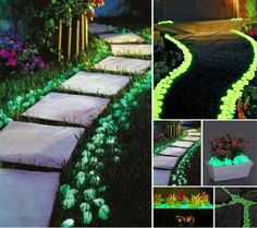 Paint rocks with glow in the dark paint and light up your backyard and garden!