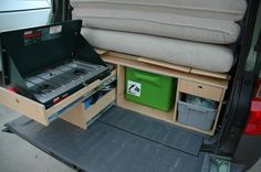We are car camping in our HOnda Element. I'm trying to include a kitchen and platform bed in my Honda Element. This design could work for any car platform.