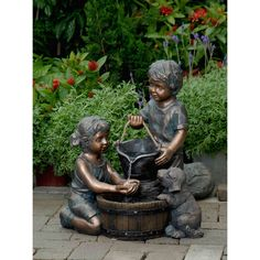 Children statues re a great way to add whimsy to your garden. Garden will be always lively with children statues. Dog Water Fountain, Garden Water Fountains, Outdoor Fountains, Fountain Garden, Garden Ponds, Koi Ponds, Drinking Fountain, Indoor Fountain, Water Gardens