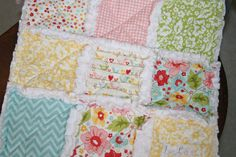 Baby Lovey Rag Quilt Security Blanket Baby Girl Gift Minky Lovey - I love this blanket and the colors would be perfect for our little girl's room