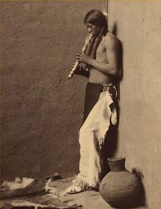 Native American Flute Player, about 1908, Library of Congress