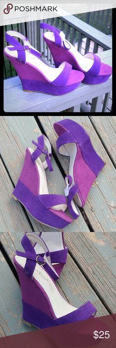 """2 Tone Purple Passion Wedges Your feet are going to look gorgeous and trendy wearing thsee 2 tone purple wedges.?? With a 4.5"""" tall on a 1.5"""" platform front. You are sure to gain shoe interest from all shoe lovers.?   BRAND NEW IN THE BOX Shoes Wedges"""