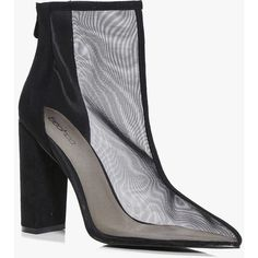 Boohoo Frances Mesh Pointed Ankle Boot ($37) ❤ liked on Polyvore featuring shoes, boots, ankle booties, bootie boots, ankle boots, high heel boots, floral booties and high heel ankle boots