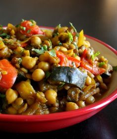 Moroccan Eggplant With Garbanzo Beans