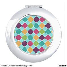 colorful Quatrefoil Pattern Compact Mirror