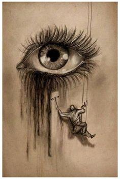 Cool Eye Drawings, Sad Drawings, Dark Art Drawings, Pencil Art Drawings, Art Drawings Sketches, Drawing Eyes, Cool Sketches, Crying Eye Drawing, Realistic Drawings