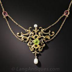 Art Nouveau Peridot, Tourmaline and Pearl Necklace - Art Nouveau Jewelry - Vintage Jewelry