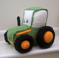 John Deere Crochet Tractor Toy. Pattern found on my blog: https://homemadegeekblog.wordpress.com/