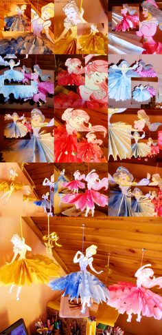 Paper Princesses (using stock coloring pages from disney and tissue paper :)