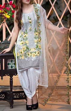 Buy Off-White Embroidered Cotton Lawn Dress by Kalyan 2016