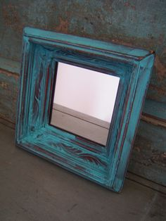 Turquoise Distressed Wood Frame Mirror $14