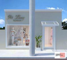 Fachada limpa e delicada. Small Boutique Ideas, Clothing Store Design, Underwear Store, Coffee Bar Home, Boutique Interior Design, Store Window Displays, Boutique Stores, Retail Design, Showroom