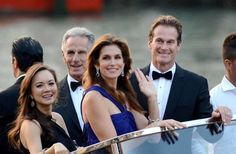 George Clooney and Amal Alamuddin's wedding. Cindy Crawford and husband Randy Gerber journey to George's wedding.