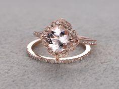 1.3 Carat Cushion Cut Morganite Wedding Set Diamond Bridal Ring 14k Rose Gold Retro Vintage Art Deco Antique Flower