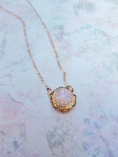 Vintage Glass Fire Opal Necklace - 14K Gold Filled - Vintage Glass Opal, Colorful, Birthstone Jewlery, Shabby Chic. $32.00, via Etsy.