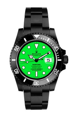 Black Submariner With Neon Green Dial by Bamford for Preorder on Moda Operandi