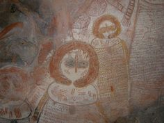 Wandjina (rain-giver) images from the last phase of Kimberley rock art - the Wandjina Period of the Aborigine Epoch. Western Australia - Kimberley - King George River Aboriginal Rock Art Site
