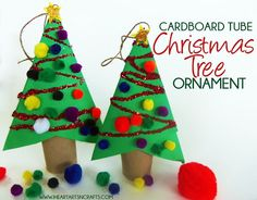 Here's an easy cardboard tube ornament that will cost barely anything to make. I used what we had on hand to decorate the Christmas trees and it gives off a 3d look to the ornament. This is a simple ornament craft for any preschooler or toddler to do. My two year old had a blast with this! What you need: - Construction Paper - Glitter - Cardboard Tube - Glue - Decorations such as Pom Pom Balls or Sequins! First you'll need two squares of construction paper, you'll fold them in half so that…