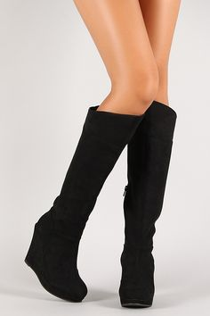Suede Knee High Platform Wedge Boot