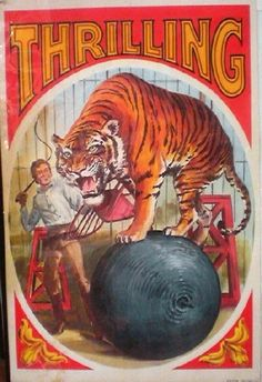"Original 1960's poster for ""Thrilling"" circus."
