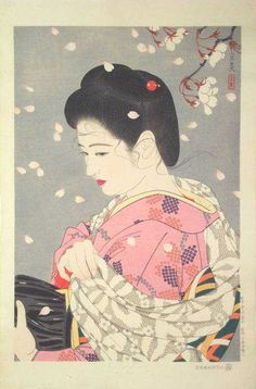 Cherry Blossom Storm by Shimura Tatsumi from the series Five Figures Of Modern Beauties . 1953
