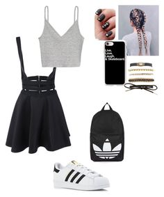 """Skater girl❤"" by aicha-13 on Polyvore featuring mode, H&M, adidas, Casetify, Charlotte Russe en Topshop"