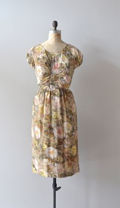 1950s silk chiffon 50s dress by DearGolden.