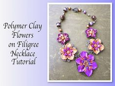Polymer Clay Flowers on Filigree Necklace by RockyBeads on Etsy