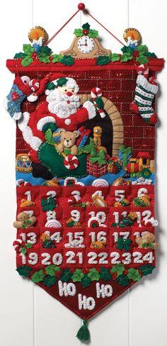 "Amazon.com: Bucilla Must Be Santa Advent Calendar Felt Applique Kit-13""x25"""