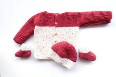 Strawberry seed baby set knitting pattern knitting with chopsticks Baby Booties Knitting Pattern, Baby Sweater Patterns, Knit Baby Sweaters, Knit Baby Booties, Knitted Baby Blankets, Baby Knitting Patterns, Baby Patterns, Baby Knits, Free Knitting