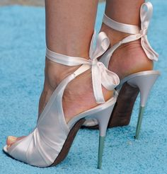 Jennifer Aniston in Gucci Ankle Strap Stilettos and Tom Ford Ankle Wrap Heels
