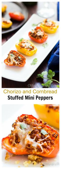 These Chorizo and Cornbread Stuffed Mini Peppers make the perfect appetizer and are simple to make. Sweet baby bell peppers are stuffed with smoky chorizo and spicy pepper jack cheese and then baked to perfection.