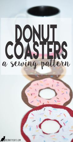 DIY donut coasters sewing pattern free download Sewing Patterns Free, Free Sewing, Hand Sewing, Free Pattern, Pattern Sewing, Donut Gifts, Diy Donuts, Donut Decorations, Love Cake