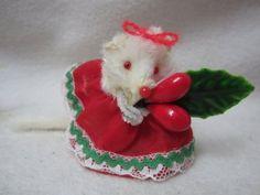 "Vintage Original Fur Toys Germany Miniature Christmas Girl Mouse 2"" | eBay"