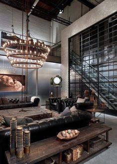 Modern Industrial Decor, Industrial Style Lighting, Industrial Interior Design, Vintage Industrial Furniture, Industrial Living, Industrial Interiors, Home Interior, Industrial Kitchens, Industrial Loft