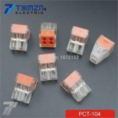 100 Pcs PCT-104 Mendorong kawat kabel konektor Untuk kotak Persimpangan 4 pin konduktor terminal blok