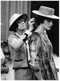 Chanel with model, Paule Rizzo (née Gluckson) 1955