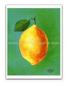 Lemon art 8 x 10 print Kitchen art Fruit by JackieGuttusoDesigns