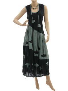 Fab artsy boho balloon dress with flowers crinkle cotton in black grey - Artikeldetailansicht - CLASSYDRESS Lagenlook Art to Wear Women's Clothing
