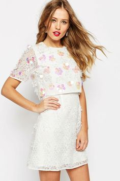 Buy ASOS SALON Floral Lace Embroidered Crop Top Mini Dress at ASOS. Get the latest trends with ASOS now. White Lace Cocktail Dress, Sequin Mini Dress, White Mini Dress, Short Lace Dress, Dress Lace, Short Dresses, White Embroidered Dress, Asos Dress, Costume