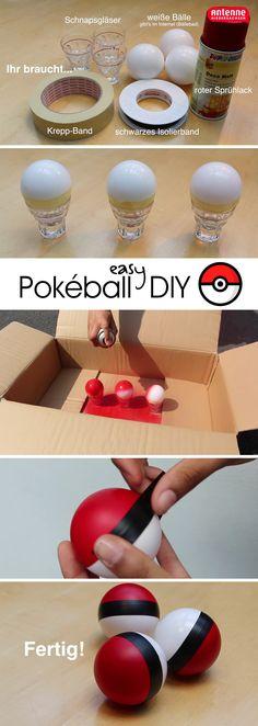 Easy Pokébälle selber basteln für Pokémon-Party oder Kindergeburtstag. Perfekt wird's, wenn ihr noch einen Punkt drauf klebt.   DIY einfach