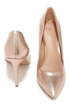 a6eb3408554933 Charles by Charles David Pact Rose Gold Leather Pointed Pumps