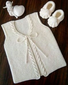 These 41 Baby Knitting Models Take Many Orders! - 41 Times You Will Call Maşallah 41 Baby Vest Cardigan Dress Knitting Model - Baby Knitting Patterns, Free Knitting, Knit Baby Sweaters, Knitted Baby Clothes, Dress With Cardigan, Baby Cardigan, Vestidos Bebe Crochet, Hobbies For Women, Crochet For Kids