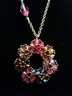 Beaded Swarovski Crystal  Flower Pendant  Pink  by LaLaCrystal,