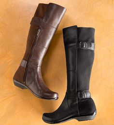 Dansko® Odessa Boots from the Marseille Collection. Tall leather boots feature two adjustable straps with smooth leather front ad sueded back.