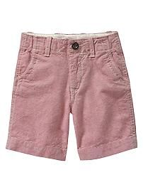 Flat-front oxford shorts