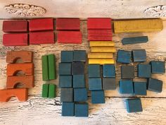 Collection of Vintage Wood Building Blocks - Over 40 Rustic, Messy, Distressed Kids Blocks - Great for Crafts by Thebeezkneezvintage on Etsy