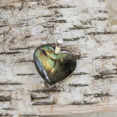Labradorite heart pendant green blue natural untreated