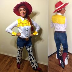Went all out this year and made my own DIY Jessie The Cowgirl costume from Toy Story 2!! I hand-made everything except the wig and hat. Used an existing pair of skinny jeans and brown belt, and bought the boots at TJ Maxx.